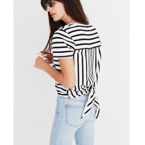 Madewell Striped Tie Back Shirt Black & White